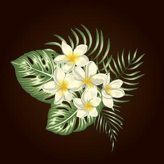 分離された白いプルメリアの花、モンステラ、ヤシの葉の熱帯成分。明るくリアルな水彩風のエキゾチックなデザイン要素。