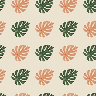 Tropical creative plant seamless pattern. monstera leave