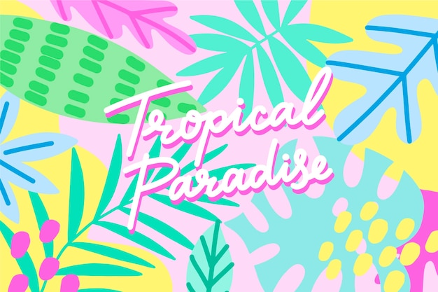 Tropical design lettering with leaves