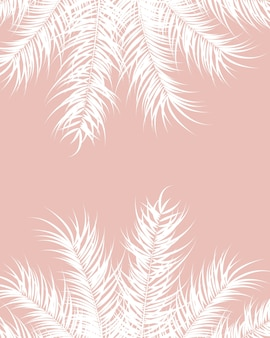 Tropical design with white palm leaves and plants on pink background