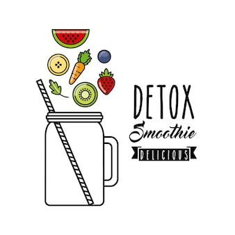 Tropical detox icon. smoothie and juice design. vector graphic