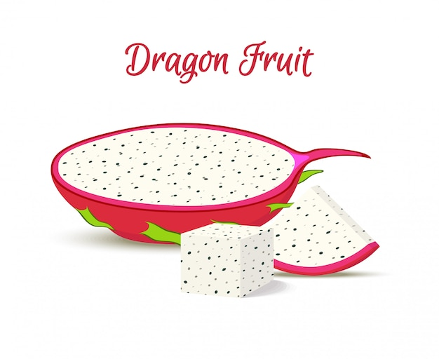 熱帯のドラゴンフルーツ、スライスのピタヤ。