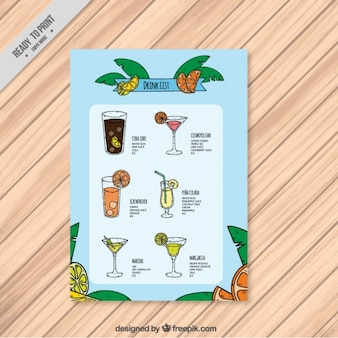 Tropical drink list