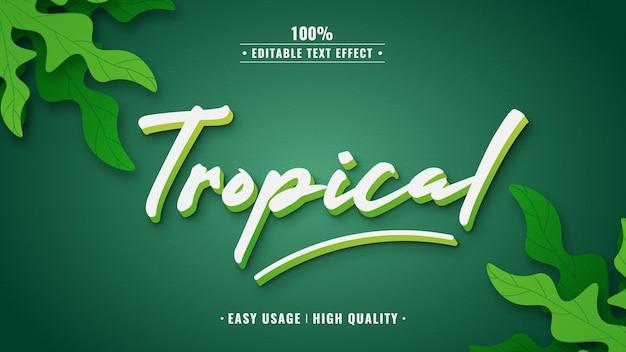 Тропический редактируемый текстовый эффект 3d