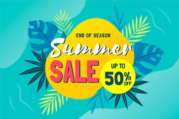 Tropical end of summer sales background
