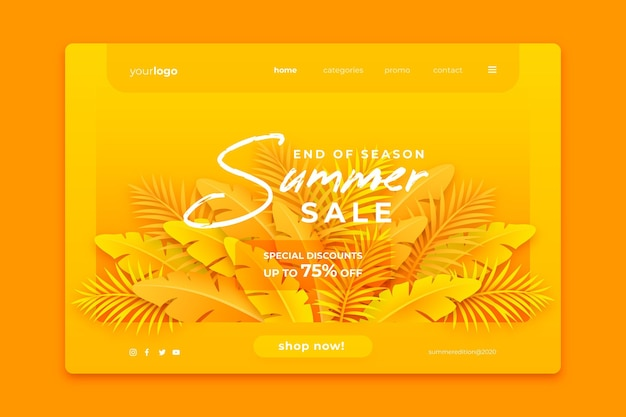 Tropical end of summer sales landing page