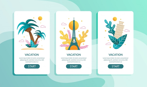 Tropical and european vacation mobile page set
