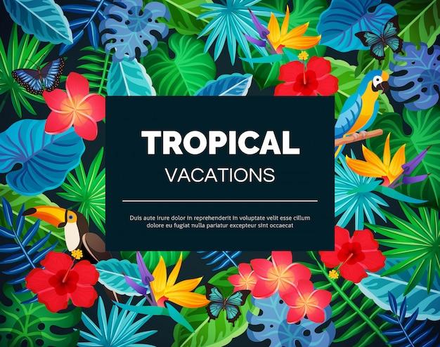 Тропический экзотический фон Бесплатные векторы