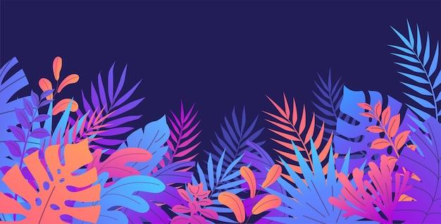 열대 이국적인 화려한 식물 야자수 잎 보라색 배경
