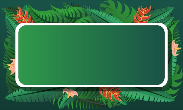 Tropical exotic concept framed background, cartoon style