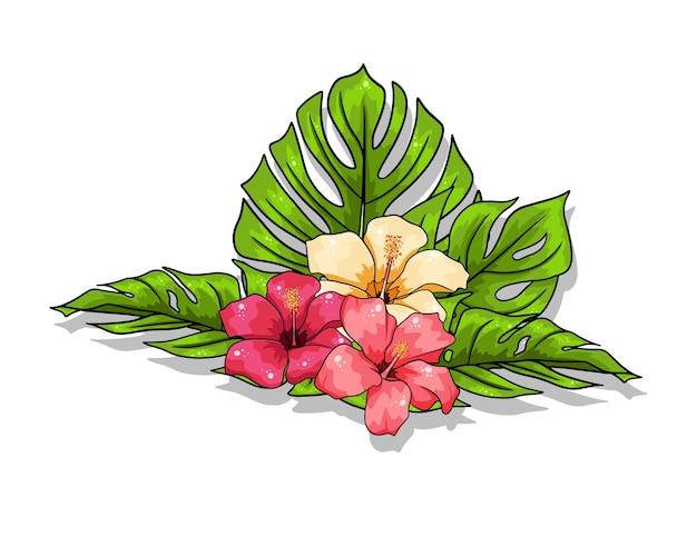 Тропические экзотические цветы и резные листья в мультяшном стиле.