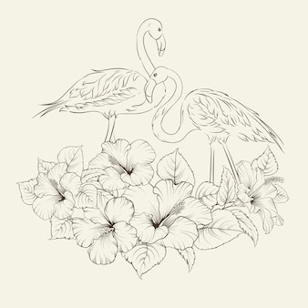 Tropical exotic flowers with elegant flamingos birds over gray