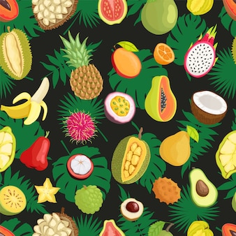 Tropical exotic fruits green leaf seamless pattern