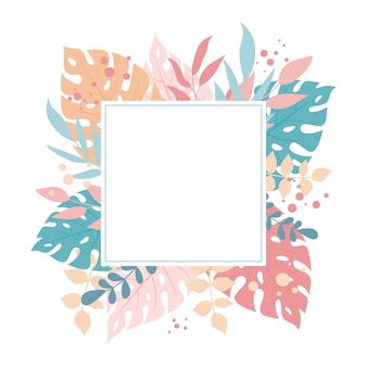 Tropical exotic leaves square background, cute leaves and floral composition