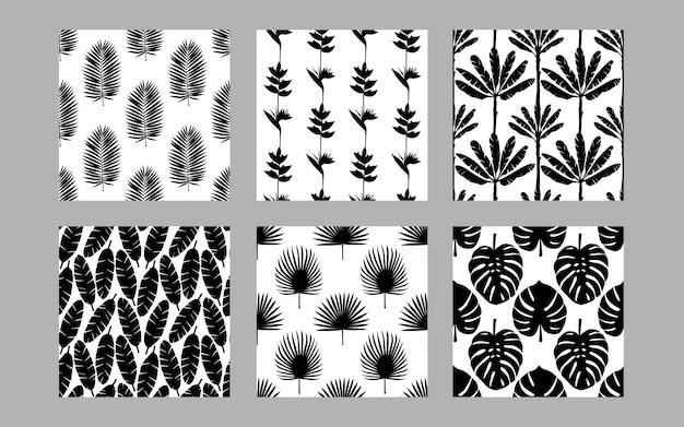 Набор бесшовные шаблоны тропических экзотических растений