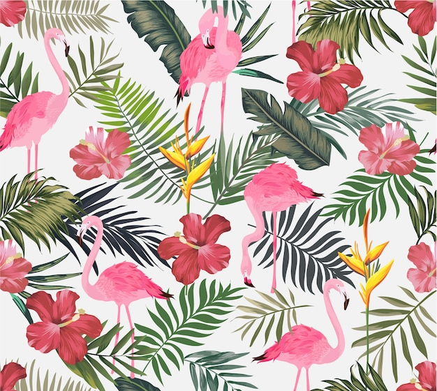 Tropical exotic with flamingo seamless pattern