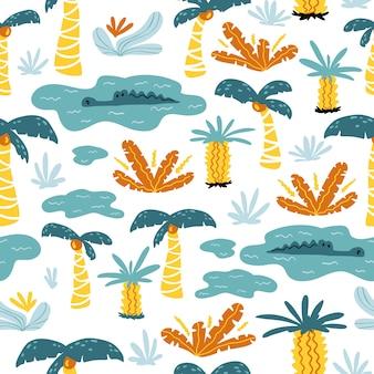 漫画のスカンジナビアスタイルの熱帯の幻想的なシームレスパターンクロコダイル湖。