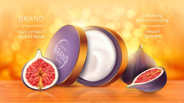 Tropical figs cosmetics realistic vector background. open jar with cosmetic skin care product, whole and sliced purple fig fruit on bright orange blurred background with golden sunny bokeh