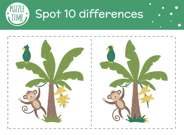 Tropical find differences game for children. summer tropic preschool activity with monkey hanging on liana on banana tree. puzzle with cute funny smiling characters.