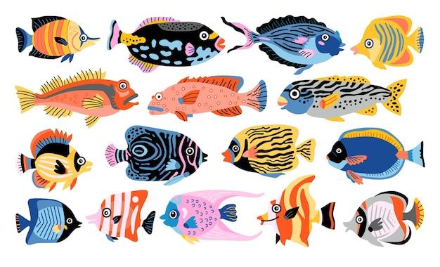 Набор тропических рыб. изолированные мультфильм значок аквариум животных иллюстрации