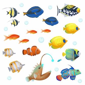 熱帯魚セット。漫画のスタイルのベクトルイラスト。
