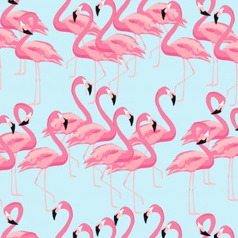 Tropical flamingo bird seamless pattern background