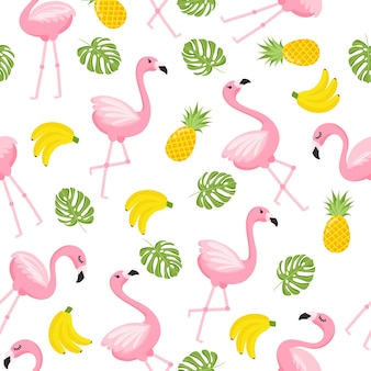 열대 플라밍고 패턴입니다. 플라밍고와 열 대 과일과 함께 완벽 한 장식 배경입니다. 흰색 바탕에 밝은 여름 디자인. 벡터 일러스트 레이 션