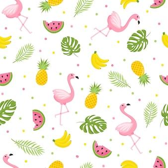 トロピカルフラミンゴ柄。フラミンゴとトロピカルフルーツとのシームレスな装飾的な背景。白い背景の上の明るい夏のデザイン。ベクトルイラスト
