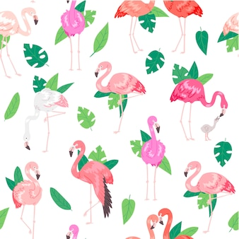 Tropical flamingo seamless pattern.