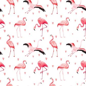 마음으로 열 대 플라밍고 원활한 벡터 여름 패턴입니다. 배경 화면, 웹 페이지, 질감, 섬유에 대한 이국적인 핑크 새 배경. 동물 야생 동물 디자인