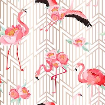 모란 꽃과 아트 데코 배경이 있는 열대 플라밍고 원활한 벡터 여름 패턴입니다. 벽지, 웹 페이지, 질감, 섬유, 배경을 위한 꽃과 새 그래픽