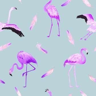 분홍색 깃털이 있는 열대 플라밍고 원활한 벡터 여름 패턴입니다. 배경 화면, 웹 페이지, 질감, 섬유에 대한 새 배경.