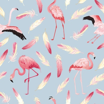 Tropical flamingo seamless vector summer pattern with pink feathers. bird background for wallpapers, web page, texture, textile.