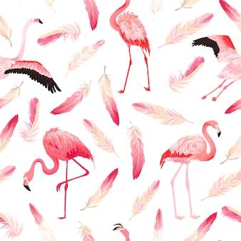 분홍색 깃털이 있는 열대 플라밍고 원활한 벡터 여름 패턴입니다. 배경 화면, 웹 페이지, 질감, 섬유에 대한 이국적인 핑크 새 배경. 동물 야생 동물 디자인