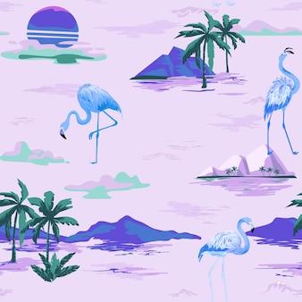 열대 야자수와 열대 플라밍고 원활한 벡터 여름 패턴입니다. 배경 화면, 웹 페이지, 질감, 섬유에 대한 새 배경.