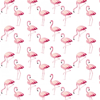 Tropical flamingos cartoon seamless pattern