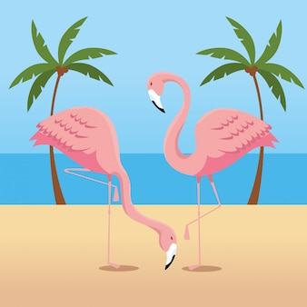 Tropical flamingos with palms trees in the beach