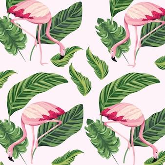 熱帯のフランドル動物と葉の背景