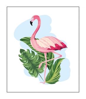 エキゾチックな葉を持つ熱帯のフランドル動物