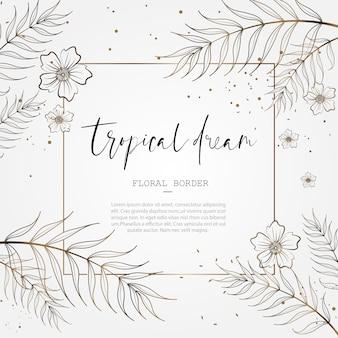 日付の結婚記念日カードのデザインを保存するための熱帯の花柄ボーダー
