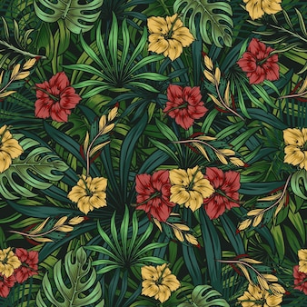 Tropical floral colorful seamless pattern with beautiful hibiscus, palm and monstera leaves in vintage style