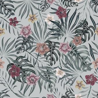 Тропический цветочный красочный бесшовный образец с экзотическими цветами и листьями в винтажном стиле