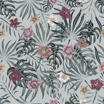 Tropical floral colorful seamless pattern with exotic flowers and leaves in vintage style