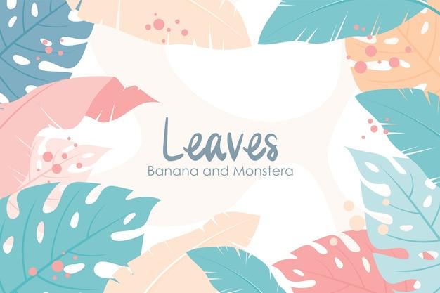 熱帯の花のフレームと背景、バナナの葉とモンステラの葉の構成スタイル