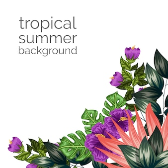 Tropical floral ornament background