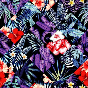 Tropical floral patchwork trendy seamless pattern