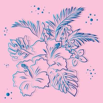 熱帯の花柄の背景