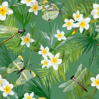 トンボと熱帯の花のシームレスなパターン