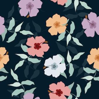 熱帯花柄シームレス