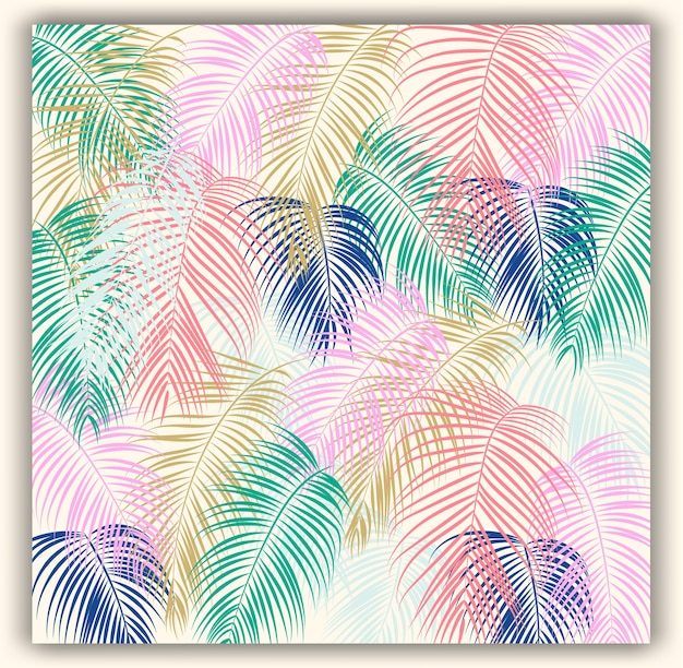 Tropical floral seamless vector pattern background.